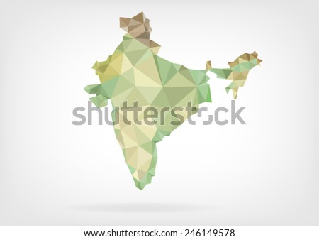 Low Poly map of India - stock vector