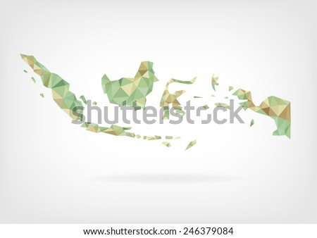 Low Poly map of Indonesia - stock vector
