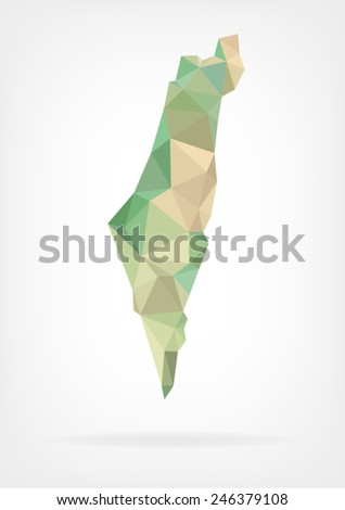 Low Poly map of Israel - stock vector