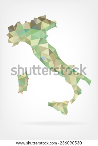 Low Poly Map of Italy - stock vector