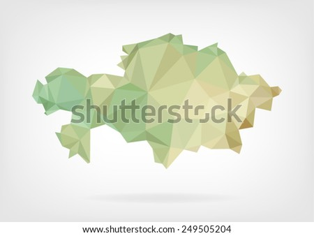 Low Poly map of Kazakhstan - stock vector