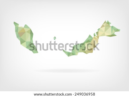 Low Poly map of Malaysia - stock vector