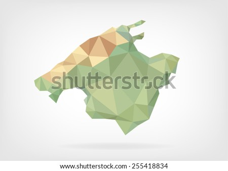 Low Poly map of Mallorca Island - stock vector