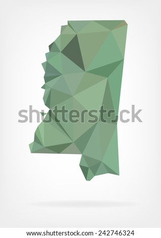 Low Poly map of Mississippi state - stock vector