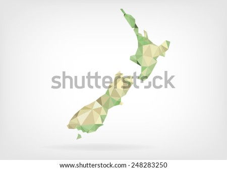 Low Poly map of New Zealand - stock vector