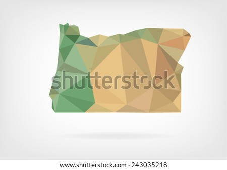 Low Poly map of Oregon state - stock vector