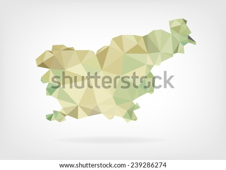 Low Poly map of Slovenia - stock vector
