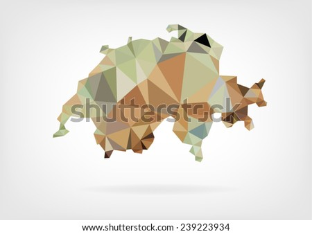 Low Poly map of Switzerland - stock vector