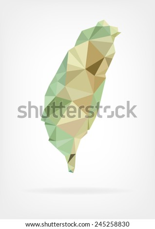 Low Poly map of Taiwan - stock vector