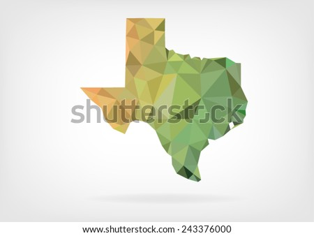 Low Poly map of Texas state - stock vector
