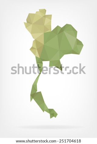 Low Poly map of Thailand - stock vector