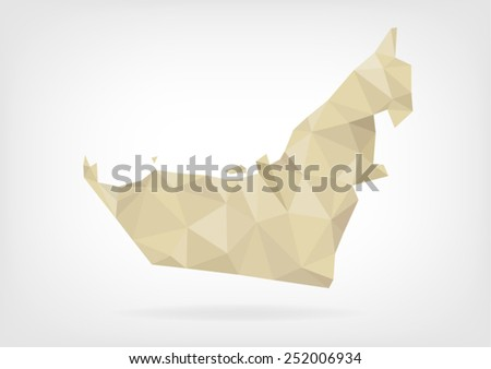 Low Poly map of United Arab Emirates - stock vector