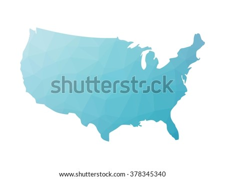 Low poly map of USA. Vector illustration made of blue triangles.