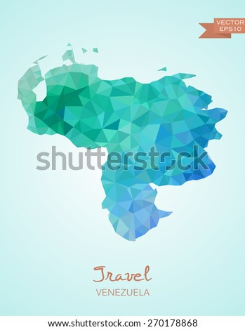 Low Poly map of Venezuela isolated. Vector version - stock vector