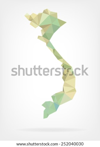 Low Poly map of Vietnam - stock vector