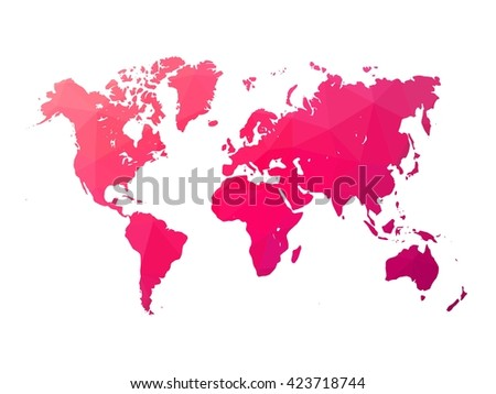 Low poly map of world. World map made of triangles. Pink polygonal shape vector illustration on white background.