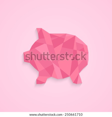 low poly piggy bank. concept of savings, deposit policy, nest egg, money for a rainy day and thrift. isolated on pink stylish background. polygonal style trendy modern logo design vector illustration - stock vector