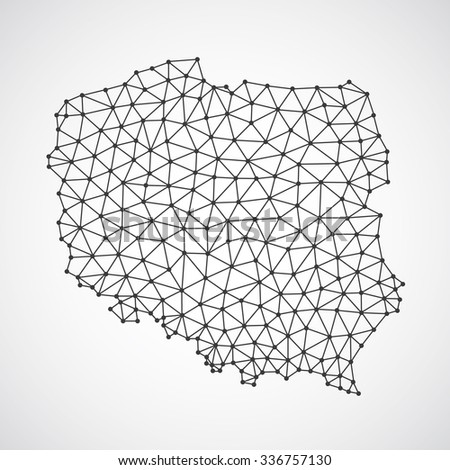 Low poly Poland map illustration. Point and geometrical form, structure line comunication concept - stock vector