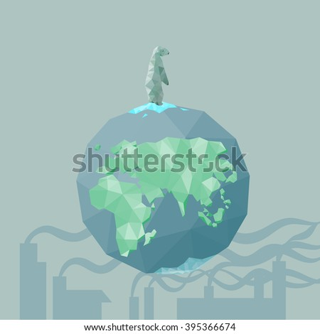 low poly Polar bear  on the iceberg with earth and factory pollution, great for environment concept  - stock vector