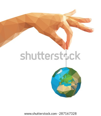 low poly polygon left hand holding a globe with his thumb and index finger. - stock vector