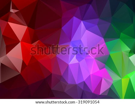 low poly red, violet and green background