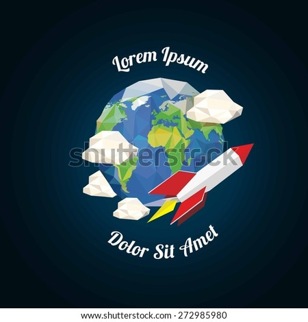 Low poly rocket near earth with clouds. vector illustration - stock vector
