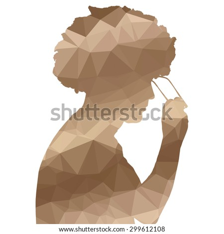 Low poly silhouette man on white background.