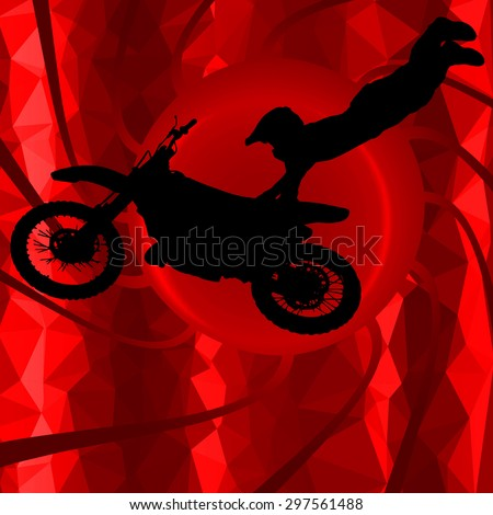 low poly silhouette motocross rider on background - stock vector