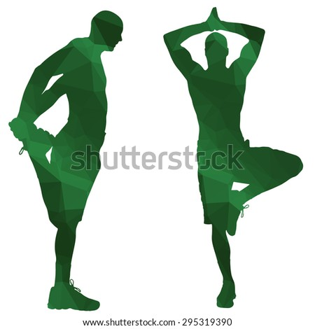 Low poly sport man on white background. - stock vector