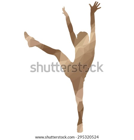 low poly sport woman on white background