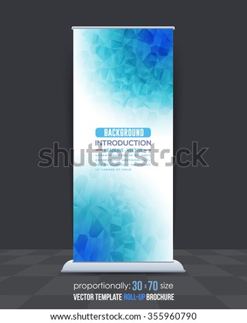 Low Poly Style Blue Colors Roll-Up Banner Design - stock vector