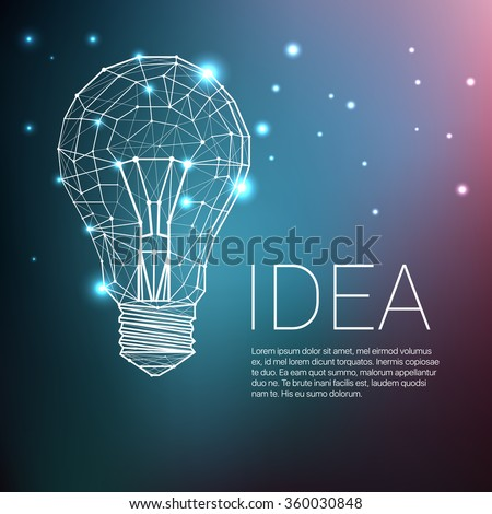 Low Poly Style Light bulb. Vector abstract Illustration with sample text - stock vector