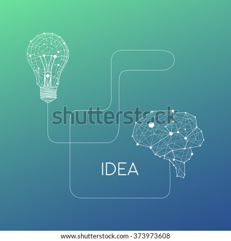 Low Poly Style Linear Light bulb connected with brains. Vector abstract Illustration with sample text. Abstract science poster - stock vector