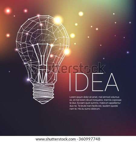Low Poly Style Linear Light bulb. Vector abstract Illustration with sample text  - stock vector