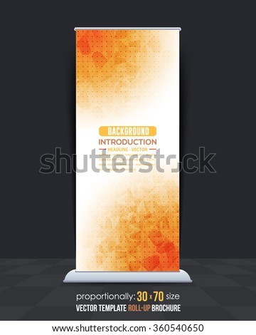 Low Poly Style Orange, Brown Colors Roll-Up Banner Design - stock vector