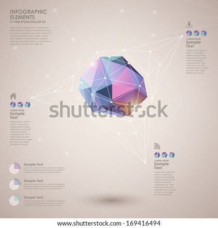 low poly style vector abstract infographic elements - stock vector