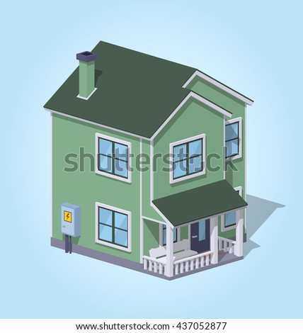 Low poly suburban house against the blue background. 3D lowpoly isometric vector illustration