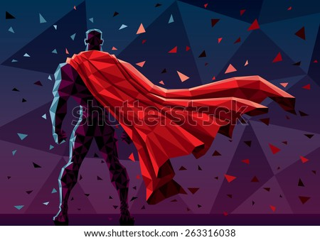 Low poly superhero background. No transparency used. Basic (linear) gradients. - stock vector