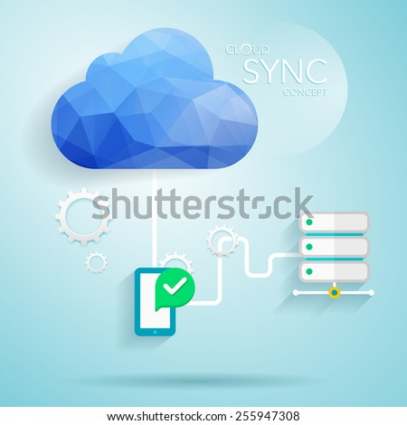 Low poly trendy vector cloud network illustration,cloud technology(sync) concept for your business. - stock vector