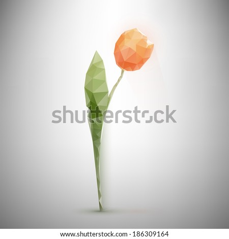 Low-poly triangular style tulip illustration - stock vector