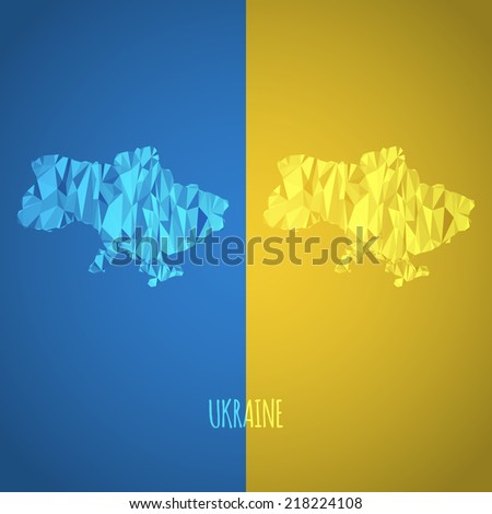 Low Poly Ukraine Map with National Colors - Infographic - Vector Illustration - stock vector