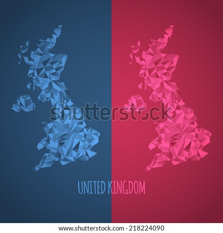 Low Poly United Kingdom Map with National Colors - Infographic - Vector Illustration - stock vector