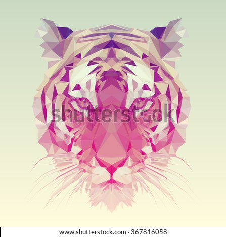 Low poly vector animal illustration. Polygonal tiger graphic design. - stock vector