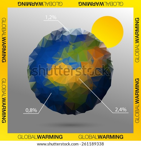 Low poly vector of global warming. - stock vector