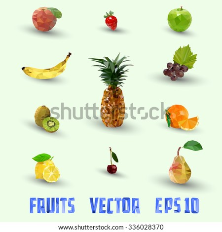 low poly vector set of fruits for your work