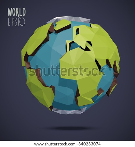 Low poly vector world globe illustration. Polygonal earth. - stock vector