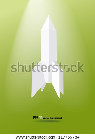 low poly white rocket on the green background eps 10 - stock vector