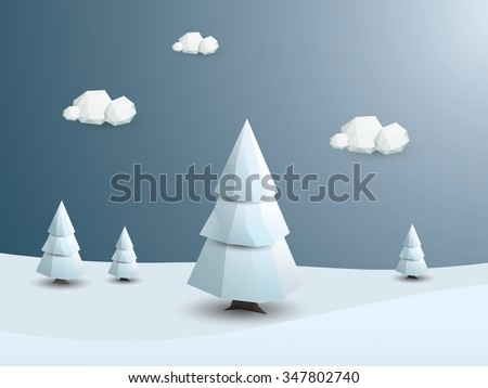 Low poly winter landscape vector background. 3d Polygonal white trees with snow. Christmas wallpaper. Eps10 vector illustration. - stock vector