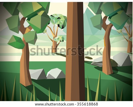 Low polygon green forest . Vector illustration. - stock vector
