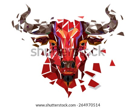 Low polygon Red bull head with geometric pattern- Vector illustration - stock vector